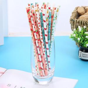 25 Pcs descartáveis de papel palhas 197 milímetros Juice potável para festa de casamento Início P7Ding descartáveis Copos palhas