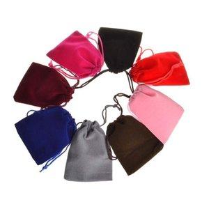 Grey Red Blue Velveteen Velvet Drawstring Gift Jewelry Packaging Bags Pouches for Christmas Wedding Favor 7x9cm