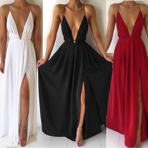 Wholesale women's European and American summer new dress sexy French suspenders V-neck solid color evening dress