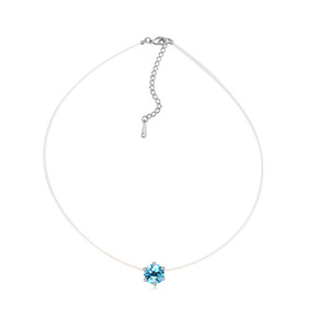 Blue Crystal From Swarovski No Allergic Transparent Thin Chain Charms Necklace 2018 New Pendants Necklaces Valentine'S Gifts