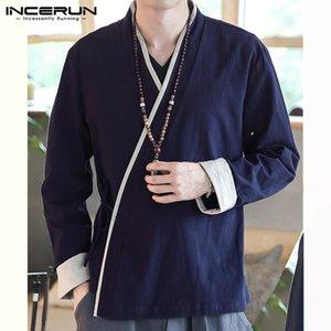Мужские повседневные рубашки мужчины рубашка китайский стиль с длинным рукавом хлопок пэчворк V-образным вырезом Высокое качество Винтаж 2021 ретро Hanfu Tops Incerun