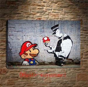 Banksy Graffiti Art Mario e The Cop, Canvas Pieces Home Decor HD Impresso Arte Moderna pintura em tela (Unframed / Framed)