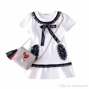 Venta al por mayor de las niñas de gama alta vestido de primavera nueva camiseta de manga corta camisa de algodón de manga larga vestido de los niños de gama alta