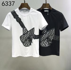 2020ss весной и летом новый высококачественный хлопок печати короткий рукав круглый шею панель T-Shirt Размер: M-L-XL-XXL-XXXL Цвет: черный белый x14