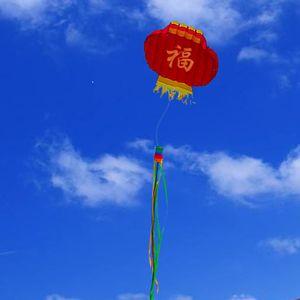 Lantern 3D cometa Kite color puro esqueleto libre de la cola larga Easy Flyer Beach cometas con adultos cinta para niños regalo