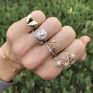 projeto 2018 queda de fábrica transporte northstar projeto do anel estrela zircônia cz jóias grande estrela mulheres menina luxuosa clara cúbico para a menina
