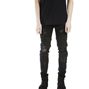 Wholesale Slp Blue  Black Destroyed Mens Slim Denim Straight Biker Skinny Jeans Casual Long Men Ripped Jeans Size 28 -38 Free Shipping