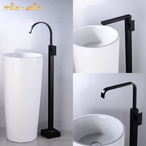 Bathroom floor black tap waterfall bathtub faucet black hot and cold tall basin tap floor bathroom faucet bath mixer