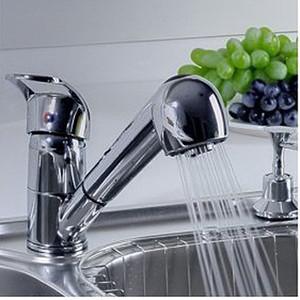 Single Handle bassa Arc Pull Out Kitchen Sink Faucet con due Spray Modello, Chrome