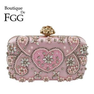 Boutique De FGG Vintage Pink Beaded Clutch Women Evening Bags Heart & Flower Wedding Crystal Clutches Handbags Bridal Purses CJ191210