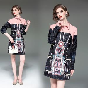 Европейский дизайн моды 2019 новый женский отложным воротником цвет блока лоскутное galaxy печати цветочные средней длины платье S M L XL 2XL