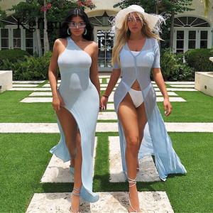 KGFIGU Kylie Jenner Robe vestidos 2019 Heißer Verkauf eine Schulter Split Summer gerippten Frauen nehmen passende reizvolle Maxi langes Kleid Y200102
