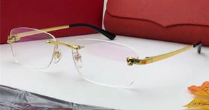 New Luxury Designer Optische Gläser Klassische Quadratische Rahmenlose Optische Glänzende Gold Titan Brillen Top Qualität Kommen Mit Fall