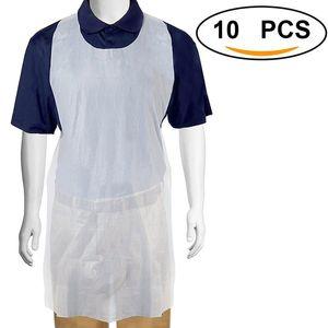 10 pcs / conjunto branco descartável transparente de fácil utilização Limpeza Aventais de cozinha para mulheres homens Avental de Cozinha Em Stock