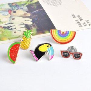 Desenhos animados broche Personalidade do arco-íris óculos Melancia Ananás Corvo Design Pin Lapel