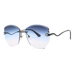 Fashion Frameless Sunglasses Personalità Trimming Deco Donne Strass Moda Ragazze Trend Sunglasses Polygonal UK per ERJND
