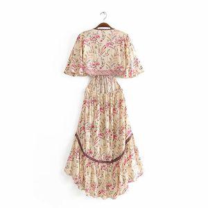 Vintage chic women floral print short sleeve rayon Bohemian dresses Ladies V neck Tassel Summer Boho pleated Maxi dress vestidos