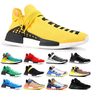 2019 Hommes race humaine Chaussures de course avec la boîte Pharrell Williams Exemples Jaune Noir Chaussures de sport de base Sneakers 36-45