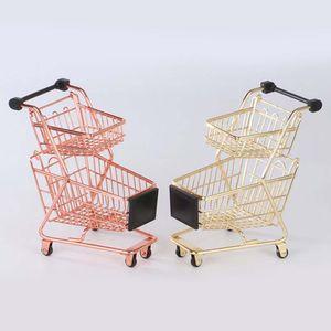 Double-Deck Mini Simulation Supermarket Handcart Cart Model Storage Toy Table Novelty Decoration Children Pretend Play Toy
