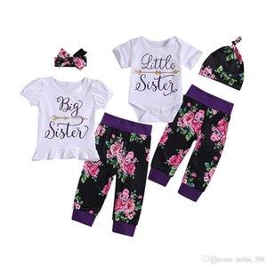 Girls Set Baby Roupas Mola Curta Manga Top Floral Calças Para Big Little Sister