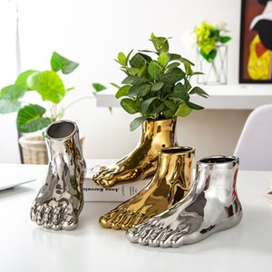 Human Foot Vase Golden Ceramic Vase Flower Pot planters Abstract Potted Plant Flower Home Decor