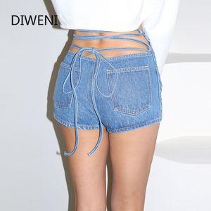 DIWEINI 2020 봄 핫 판매 여성 미니 반바지 여름 새로운 패션 해변 캐주얼 휴가 스트리트 스타일 솔리드 붕대 반바지 데님