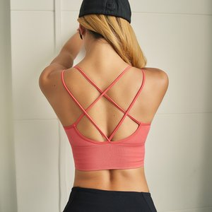 Sexy Criss Cross Desporto Bra Top aptidão Mulheres Ativo ginásio desgaste Cortar Gym Top Correndo Elastic Yoga Bra Workout Bras Fallindoll