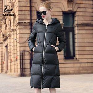 UAISI Winter Warm Coat Women Regular Fit Goose Down 90% Jacket Long Female Length Hooded