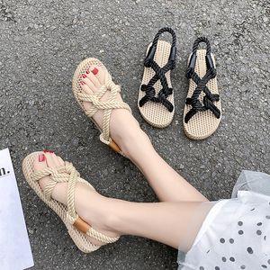 Hot Sale- 2020 New Rope Sandals Women's Summer Shoes Gladiator Beach Shoes Women Platform Sandals Lace Up Cross-Tie Flip Flops