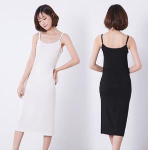 de las mujeres de la manera barata completo modal Slip espagueti del vestido de la correa del chaleco de 90 a 120 cm de largo bajo vestido de las señoras de los vestidos ocasionales