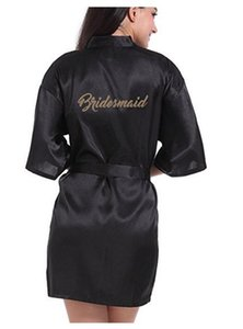 RB91 2017 Fashion Silk Bride of Mother Robe with Gold Letter Sexy Women Short Satin Wedding Kimono Sleepwear Get Ready Robe