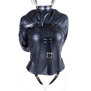 Camicia di forza di cuoio rigorosa Kinky Fancy Straight Jacket per le donne SM SM corpo Harness Fetish Cosplay BDSM Bondage Sex Toy ingranaggi