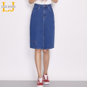 Leijijeans Yeni Varış Bahar Ve Yaz Diz boyu Nakış Denim Etek Kadın Etek Artı Boyutu Moda Mavi A-line 6850 Y19043002