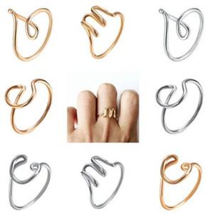 26 A-Z Inglês letra inicial Anéis mão ferida alfabeto anel simples abertura ajustável Rose Gold Monogrammed Anel Anel Lady