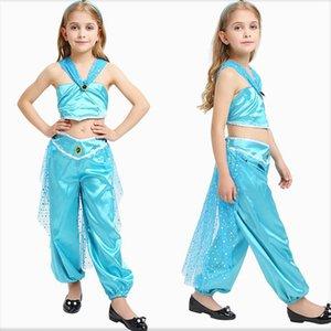 Kind party bühnenanzug halloween kinder cosplay arabische prinzessin kleid dreiteiligen satz pailletten halfter schwanz bauchtanz rock