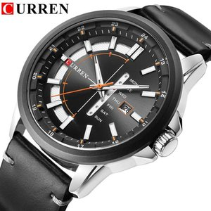 CURREN Casual Leather Strap Business Wristwatches Classic Black Quartz Men's Watch Display Date and Week Waterproof Male Clock