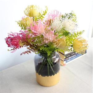 "Fake Pincushion Flower (2 heads piece) 15.35"" Length Simulation Plastic Leucospermum Spp for Wedding Home Decorative Artificial Flowers"