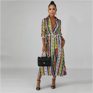 لبيل رقبة الأزهار طباعة ماكسي ملابس نسائية ملابس غير رسمية نساء الصيف Desinger الفساتين الطويلة الكم