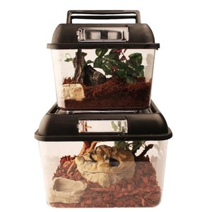 Площадь высокой прозрачный цилиндр рептилии террариум паук лягушка коробка черепаха бак клетка отделка маленькой рыба танкового Reptile Supplies