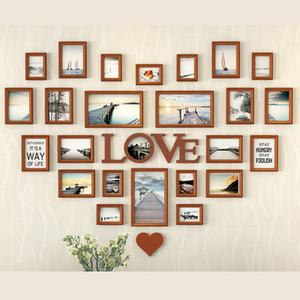 Romântico em forma de coração Photo Frame Decoração da parede 25 peças / set Wedding Picture Frame Home Decor Quarto Combinação Frames Set