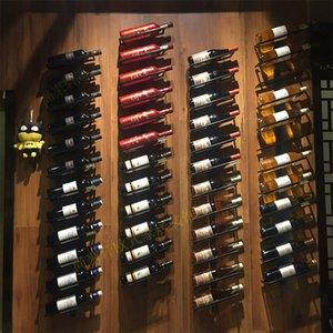 Fabrika Tanıtım Hihg Kalite Demir Duvar Organizatör Raf dur Şarap Tutucu Avrupa tarzı Şaraplık Şişe Ekran Monteli
