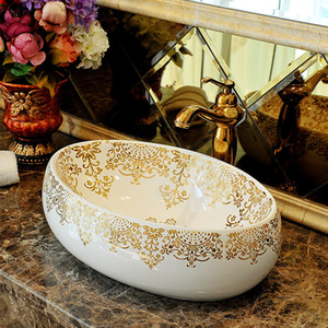 Porcelain China vessel sink Handmade Ceramic wash basin Lavobo Round Countertop bathroom sink modern wash basin oval