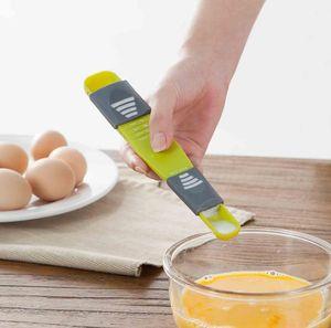 Double End Huit échoppes Échelle réglable cuillères à mesurer Aide de cuisine Durabilité Measuring Spoons Accessoires de cuisine SN318