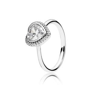 Reales anillos de diamantes de cubic zirconio 18k del anillo del corazón de oro blanco 925 sistemas de anillo de bodas de plata esterlina de Pandora de las mujeres con la caja original