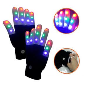 Par de guantes del delirio de luz LED de colores dedo de la luz de iluminación parpadeante Guantes Guante unisex esqueleto con 4 pilas