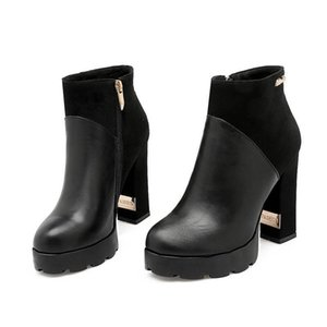 Hot Sale-new arrival fashion shoes woman round toe platform boots pu+suede solid color wedding shoes high heels boots