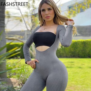 FASHSTREET Sexy Elastic Bodycon Long sleeve Jumpsuits 2020 Autumn Women Solid Hollow Out Fitness Workout Streetwear Romper Body