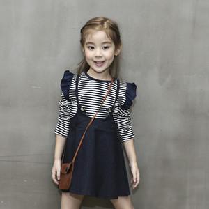 Children Baby Girls Dresses Cute Girls Striped T-Shirt Denim Strap Dress Kids Clothes Autumn Children Clothing