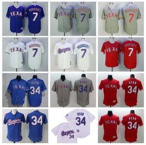 Pullover Vintage Baseball 7 Ivan Rodriguez Jersey uomini in pensione 34 Nolan Ryan basso freddo Tutto cucito squadra di casa Blu Rosso Bianco Grigio