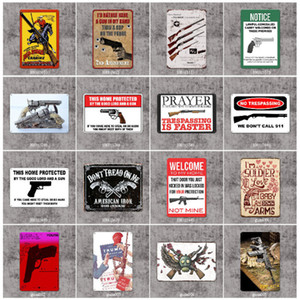 Gun Metal Warning 20 * 30cm Wall Signs Vintage Poster Arte placca metallica Art Immagini Tin Club pittura decorazione della parete della Casa del deposito Iicak